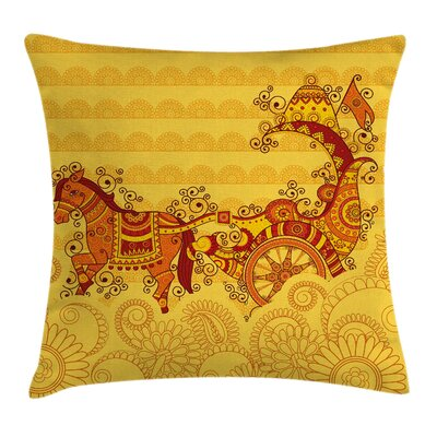 Indian Ethnic Icon Folk Design Square Pillow Cover Size: 24 x 24