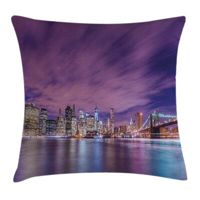 New York City Skyline Square Pillow Cover Size: 16 x 16