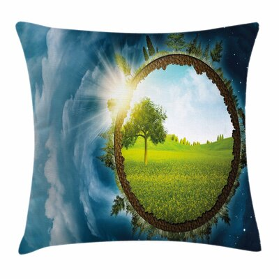 Earth Circle Ery Clouds Square Pillow Cover Size: 20 x 20