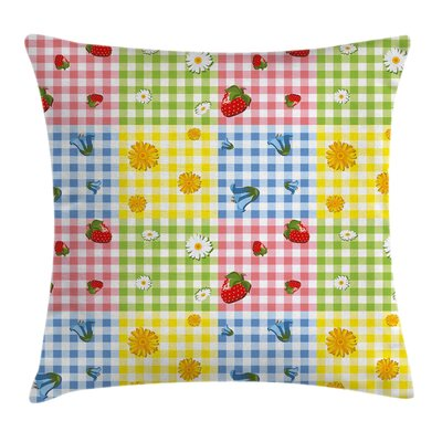 Flowers and Strawberries Pillow Cover Size: 18 x 18