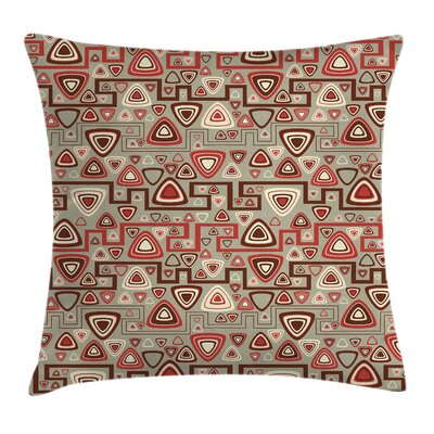 Geometric Square Pillow Cover with Zipper Size: 24 x 24