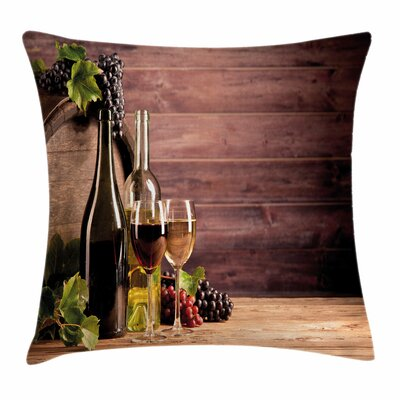 Wine Rustic Viticulture Concept Square Pillow Cover Size: 24 x 24