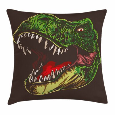 Dinosaur Aggressive Wild T-Rex Square Cushion Pillow Cover Size: 24 x 24