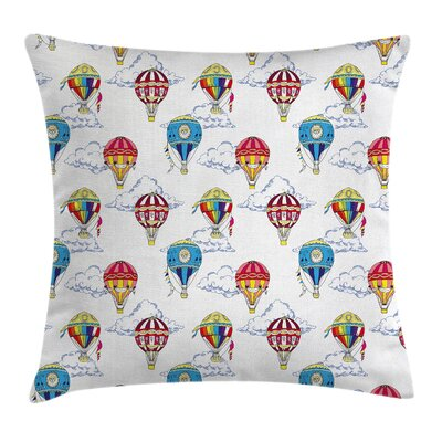 Clouds Hot Air Balloons Square Pillow Cover Size: 16 x 16