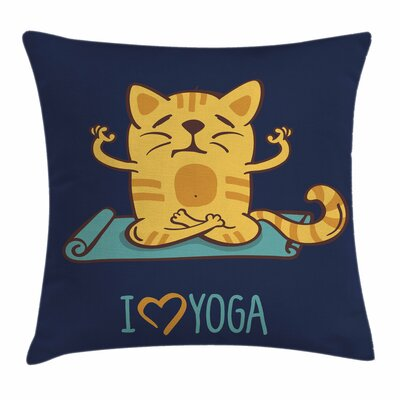 Cartoon Cute Cat Lotus Position Square Pillow Cover Size: 20 x 20