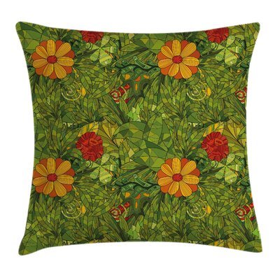 Floral Fractal Retro Jungle Art Cushion Pillow Cover Size: 20 x 20
