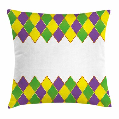 Mardi Gras Carnival Grid Square Cushion Pillow Cover Size: 20 x 20