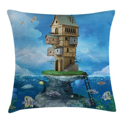 Cartoon Fantasy Fisherman House Square Pillow Cover Size: 20 x 20