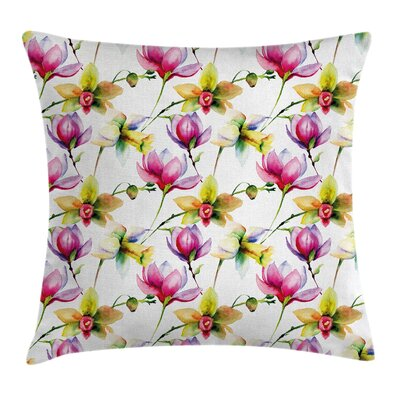 Vibrant Magnolia Flower Square Pillow Cover Size: 24 x 24
