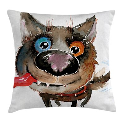 Funny Dog Cute Puppy Square Pillow Cover Size: 18 x 18