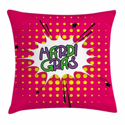 Mardi Gras Pop Art Style Retro Square Cushion Pillow Cover Size: 16 x 16