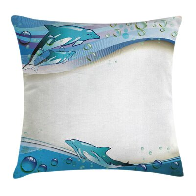 Dolphins Sea Waves Drops Square Pillow Cover Size: 18 x 18