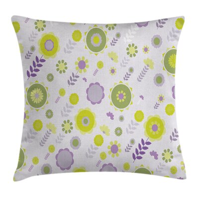 Funky Flowers Pattern Cushion Pillow Cover Size: 18 x 18