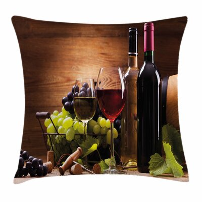 Wine French Gourmet Tasting Square Pillow Cover Size: 16