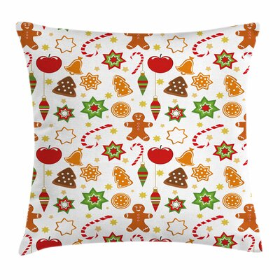 Gingerbread Man Festive Icons Square Pillow Cover Size: 18 x 18
