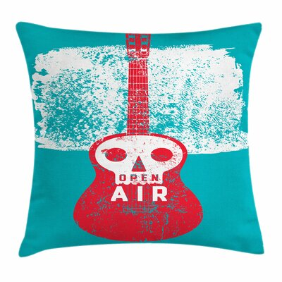 Open Air Festival Guitar Square Cushion Pillow Cover Size: 16 x 16