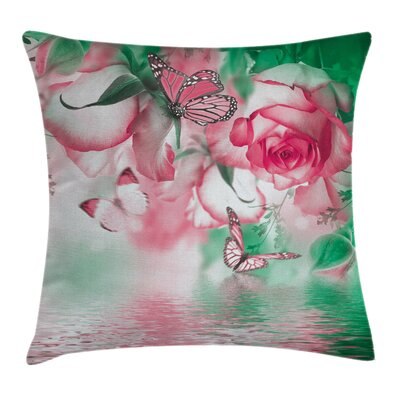 Rose Petals Butterfly Square Pillow Cover Size: 18 x 18