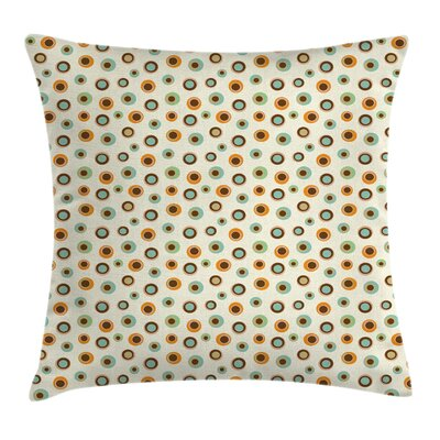 Circles Big Small Dots Square Pillow Cover Size: 18 x 18