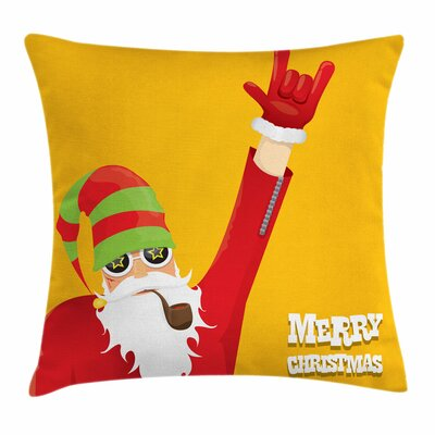 Biker Santa Smoking Pipe Square Cushion Pillow Cover Size: 24 x 24