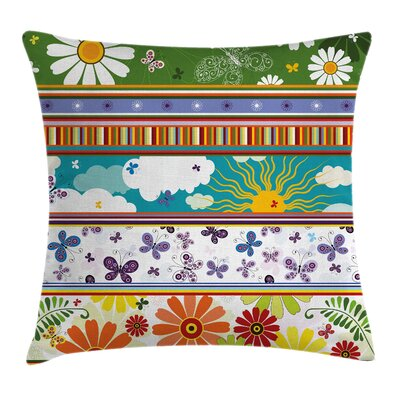 Flowers, Sun and Butterflies Pillow Cover Size: 24 x 24