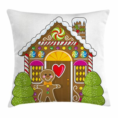 Gingerbread Man Candy House Square Pillow Cover Size: 18