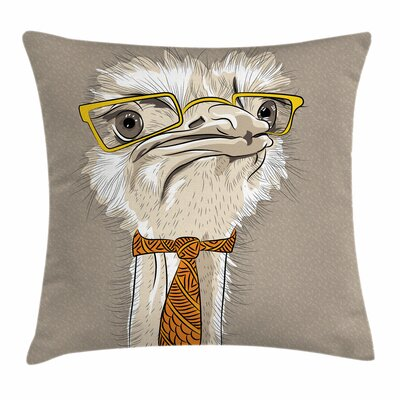 Funny Hipster Ostrich Square Cushion Pillow Cover Size: 16