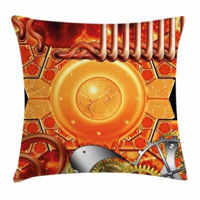Steampunk Retro Square Pillow Cover Size: 18 x 18