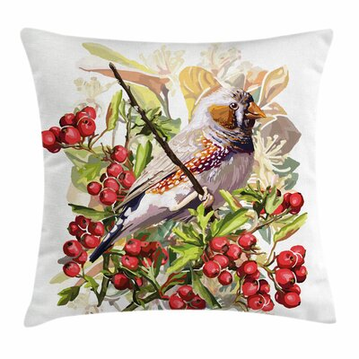 Bird and Shrubs Square Pillow Cover Size: 16 x 16