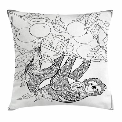 Lovely Sloth with Baby Square Pillow Cover Size: 24 x 24