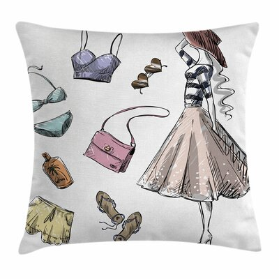 Heels and Dresses Summer Theme Square Pillow Cover Size: 18 x 18