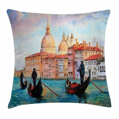 Watercolor Serene City Square Pillow Cover Size: 18 x 18