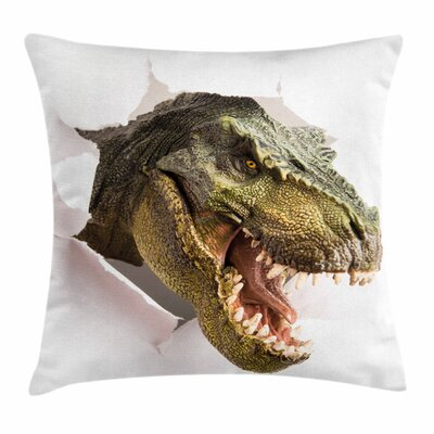 Dinosaur Dino Tears Up Paper Square Cushion Pillow Cover Size: 24 x 24
