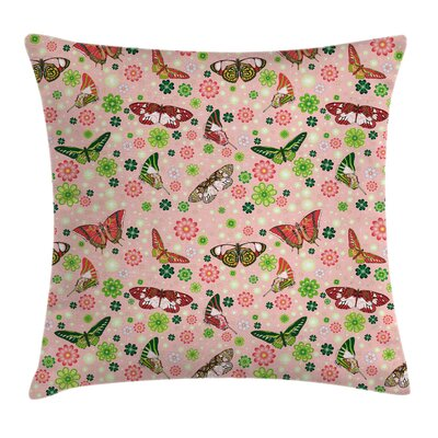 Butterflies Shamrocks Square Pillow Cover Size: 18 x 18