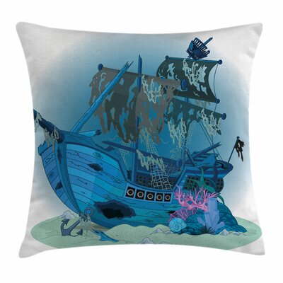 Pirate Ship Underwater Antique Square Cushion Pillow Cover Size: 24 x 24