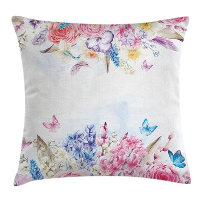 Flower and Butterfly Pillow Cover Size: 24 x 24