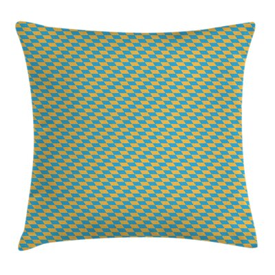 Diagonal Skewed Squares Cushion Pillow Cover Size: 16 x 16