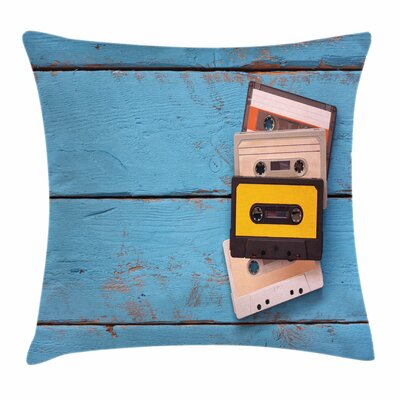Vintage Cassette Tapes Square Cushion Pillow Cover Size: 18 x 18