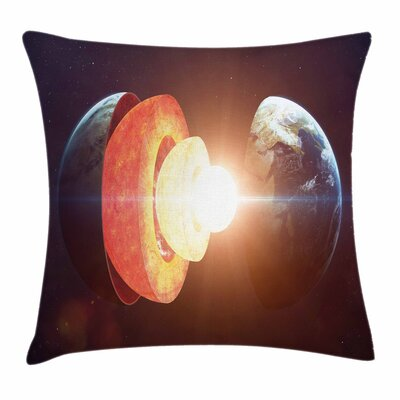 Core of Earth Structure Square Pillow Cover Size: 16 x 16