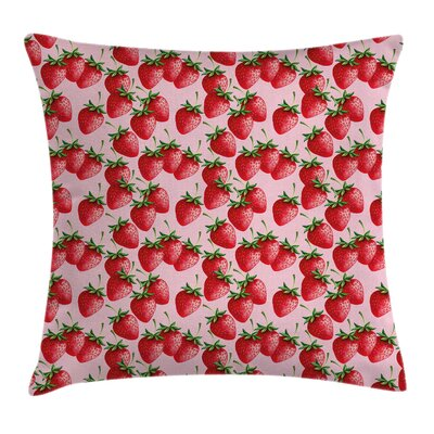 Strawberries Pillow Cover Size: 24 x 24