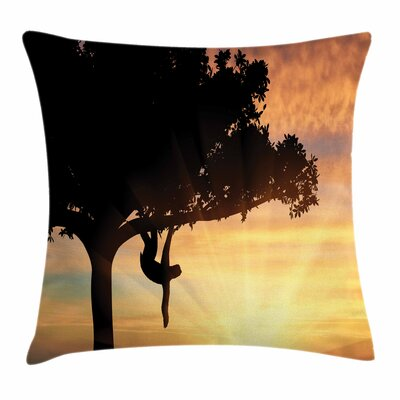 Sunset View Exotic Sloth Square Pillow Cover Size: 18 x 18