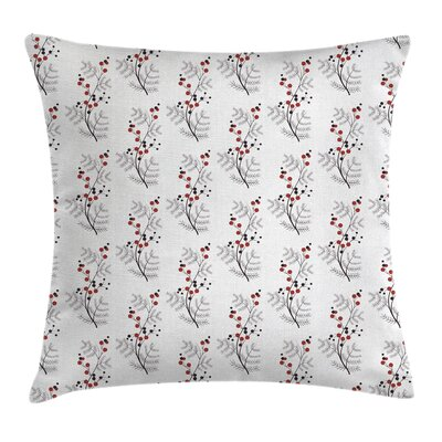 Flower Curvy Dotted Branches Cushion Pillow Cover Size: 24 x 24