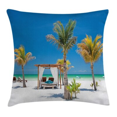 Beach Ocean Coastline Holiday Square Pillow Cover Size: 16 x 16