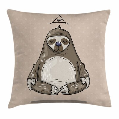 Cartoon Sloth Meditates Square Pillow Cover Size: 16 x 16