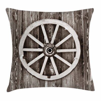 Wheel Timber Barn Wall Square Pillow Cover Size: 24 x 24