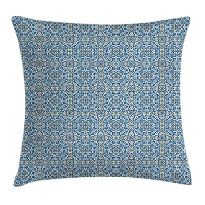 Floral Curvy Circular Hand Tile Cushion Pillow Cover Size: 18 x 18
