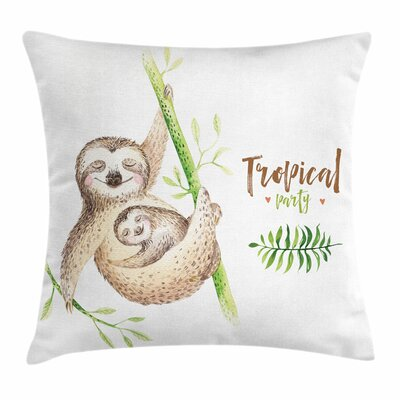 Sloth Happy Family Boho Style Square Pillow Cover Size: 16 x 16