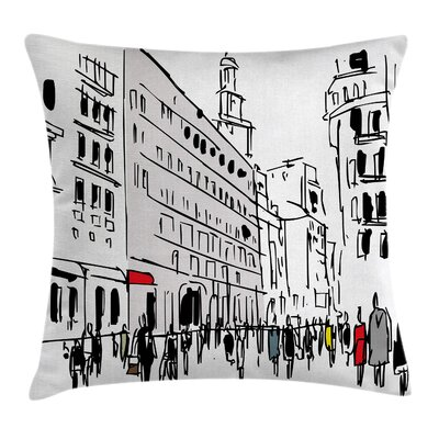 City Sketch Pillow Cover Size: 18 x 18