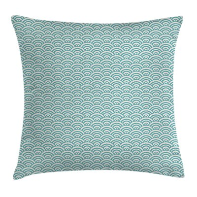 Aqua Curvy Lines Bubbles Sea Square Pillow Cover Size: 16 x 16