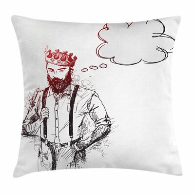 Cool Hipster King Sketch Square Cushion Pillow Cover Size: 18 x 18