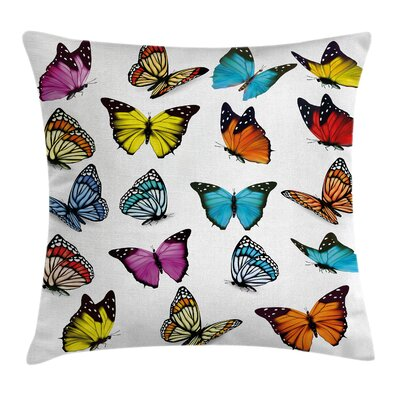 Butterflies Collection Square Pillow Cover Size: 18 x 18